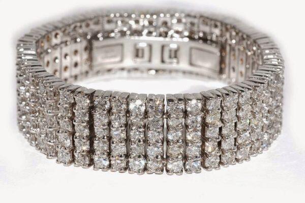 bracciale oro bianco e diamante a fasce