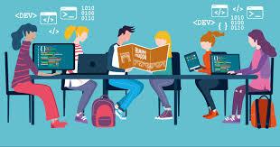 disegno di studenti seduti che lavorano al computer o leggono libri in una scuola di Rimini